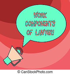 Word writing text Work Components Of Lawyer. Business...