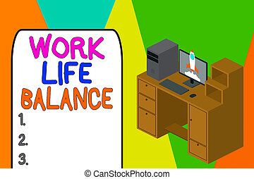 Word writing text Work Life Balance. Business concept for Division of time between working or family and leisure Working desktop station drawers personal computer launching rocket clouds.