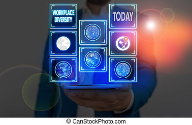 Word writing text Workplace Diversity. Business concept for environment that accepts each individual differences Elements of this image furnished by NASA.