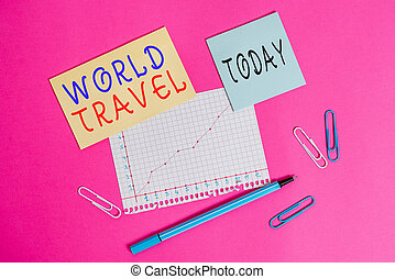 Word writing text World Travel. Business concept for the movement of showing between distant geographical locations Stationary and note paper plus math sheet with diagram picture on the table.