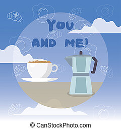 Word writing text You And Me. Business concept for Couple Relationship compromise Expressing roanalysistic feelings.