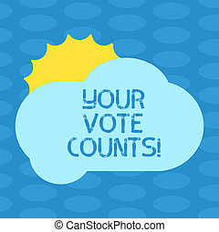 Word writing text Your Vote Counts. Business concept for Make an election choose whoever you think is better Sun Hiding Shining Behind Blank Fluffy Color Cloud photo for Poster Ads.