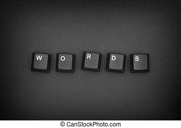 Word written with computer keyboard keys