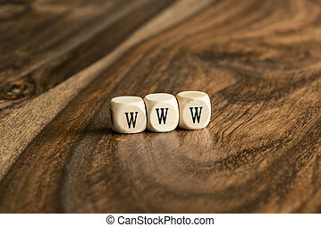 Word WWW on wooden cubes