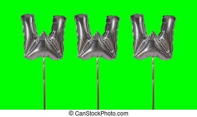 Word www web internet from helium silver balloon letters...