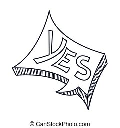 Word Yes, Hand Drawn Comic Speech Bubble Template, Isolated...