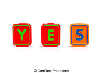 Word YES with colorful blocks and white background