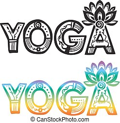 Word YOGA with lotus flower