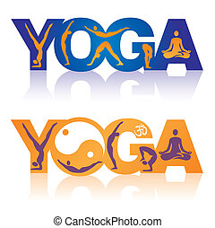 Word Yoga with Yoga positions icons - Two colorful Words...