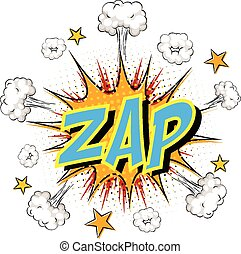 Word Zap on comic cloud explosion background