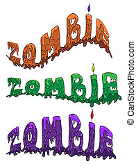 Word Zombie in three colours and different flexure