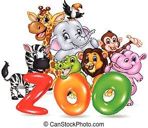 Word zoo with happy cartoon animal