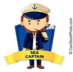 wordcard, capitão, mar, ocupação