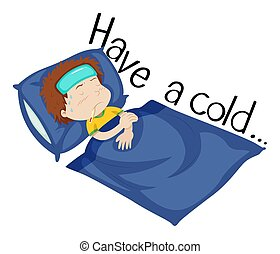 Wordcard for have a cold with boy being sick in bed