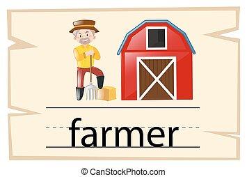 Wordcard for word farmer illustration