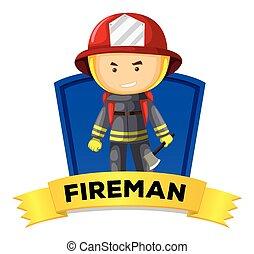 wordcard, ocupação, bombeiro