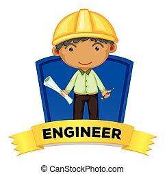 wordcard, ocupação, engenheiro