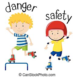 wordcard, oposta, segurança, perigo