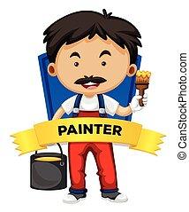wordcard, pintor, ocupação