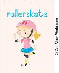 wordcard, rollerskate, 子供