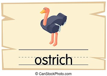 Wordcard template for ostrich illustration