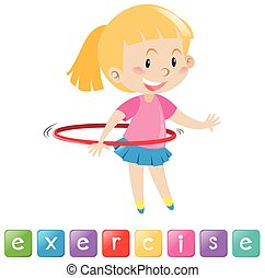 Wordcard with girl exercising