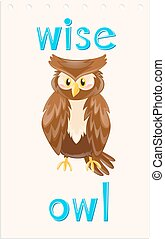 Wordcard with wise owl illustration