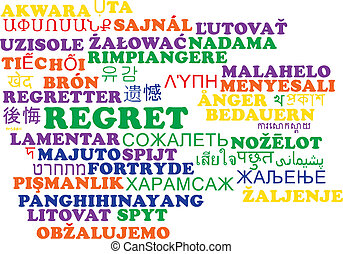 wordcloud, 概念, multilanguage, 後悔, 背景