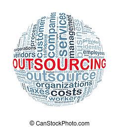 wordcloud, bal, woord, outsourcing, markeringen
