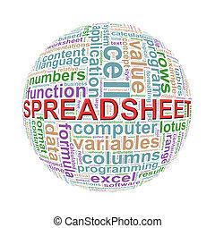 wordcloud, bal, woord, spreadsheet, markeringen