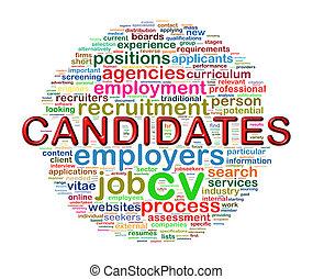 wordcloud, circulaire, mot, candidat, étiquettes