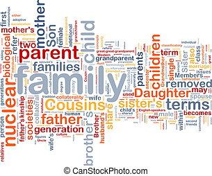 wordcloud, concept, achtergrond, illustratie, gezin