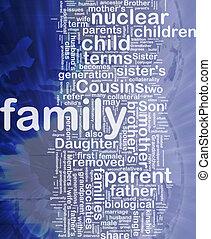 wordcloud, concept, fond, illustration, famille
