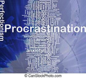 wordcloud, concept, fond, procrastination, illustration