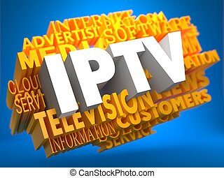 wordcloud, concept., iptv.