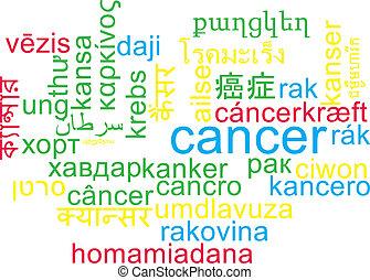 wordcloud, concept, multilanguage, cancer, fond