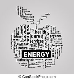 wordcloud, concept, pomme, énergie, healthcare