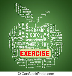 wordcloud, concept, pomme, exercice, healthcare