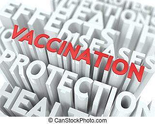 wordcloud, concept., vaccination., monde médical