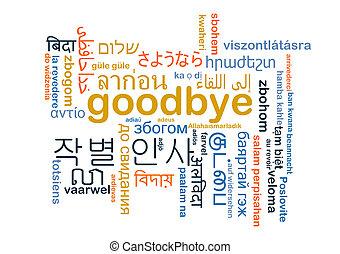 wordcloud, concepto, multilanguage, adiós, plano de fondo