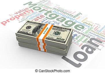 wordcloud, cuentas, dólar, hipoteca