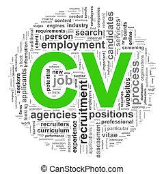 Wordcloud CV word tags - Illustration of circular design...