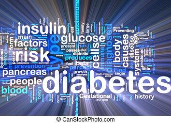 wordcloud, gloeiend, diabetes