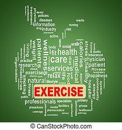 Wordcloud healthcare apple concept exercise