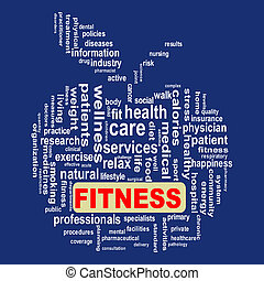 Wordcloud healthcare apple concept fitness