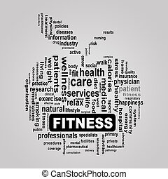 Wordcloud healthcare apple concept fitness