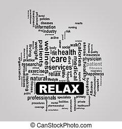 Wordcloud healthcare apple concept relax