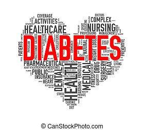 Wordcloud healthcare heart concept diabetes