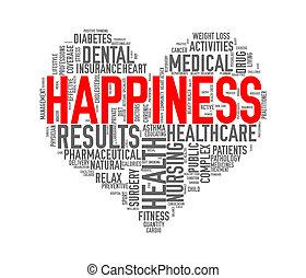 Wordcloud healthcare heart concept happiness