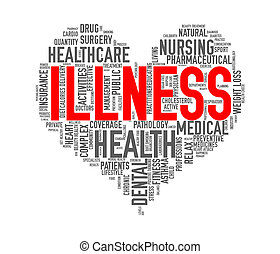 Wordcloud healthcare heart concept  illness